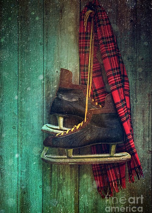 Atmosphere Greeting Card featuring the photograph Old Ice Skates Hanging On Barn Wall by Sandra Cunningham