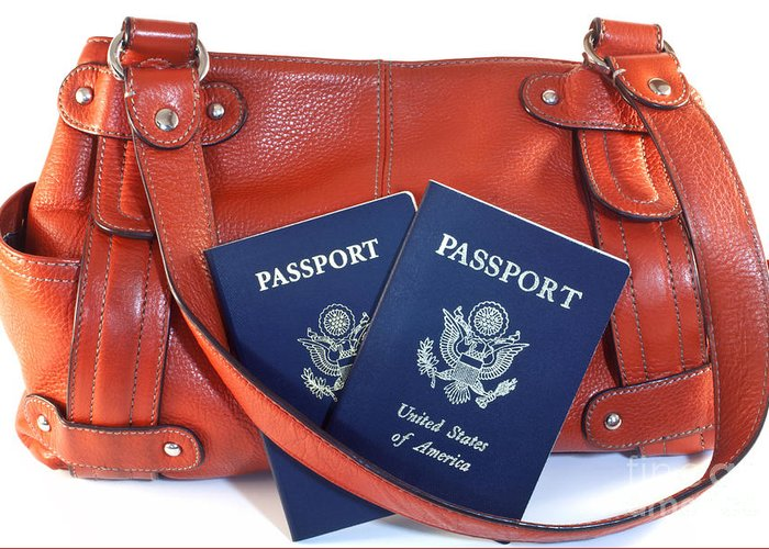 Orange Greeting Card featuring the photograph Passports With Orange Purse by Blink Images