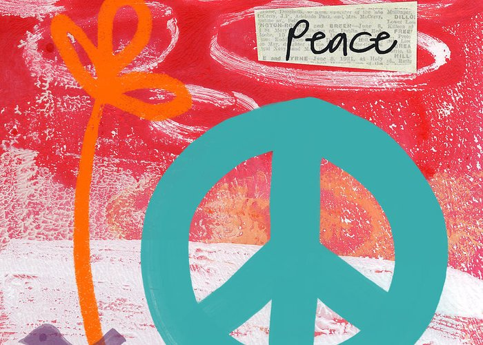 Abstract Greeting Card featuring the mixed media Peace by Linda Woods