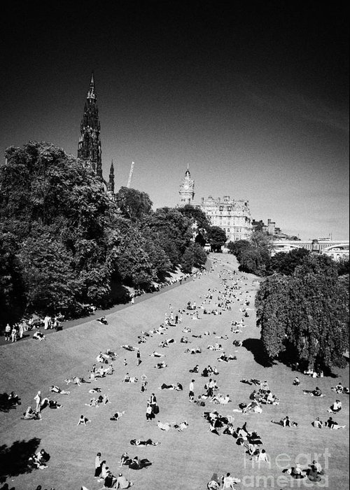Princes Greeting Card featuring the photograph Princes Street Gardens On A Hot Summers Day In Edinburgh Scotland Uk United Kingdom by Joe Fox