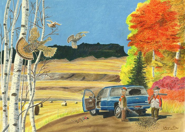 Remington Greeting Card featuring the pastel Purebreds by Tim Koziol