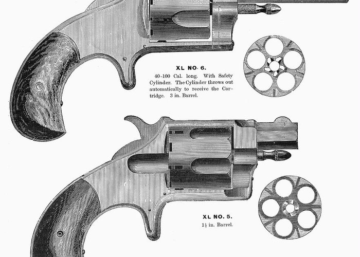1880s Greeting Card featuring the photograph Revolvers, 19th Century by Granger