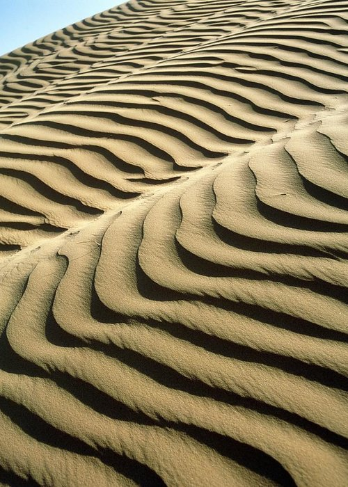 Desert Greeting Card featuring the photograph Rippled Sand Dunes by Tek Image