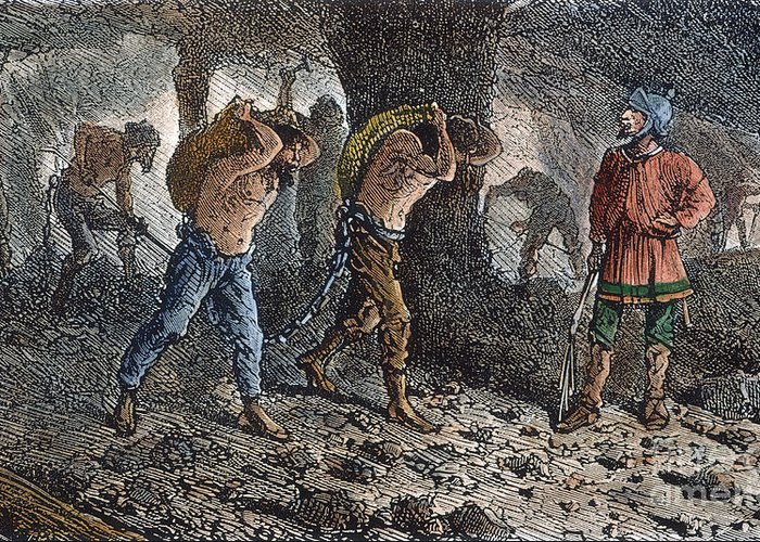 Ancient Greeting Card featuring the photograph Roman Slavery: Coal Mine by Granger