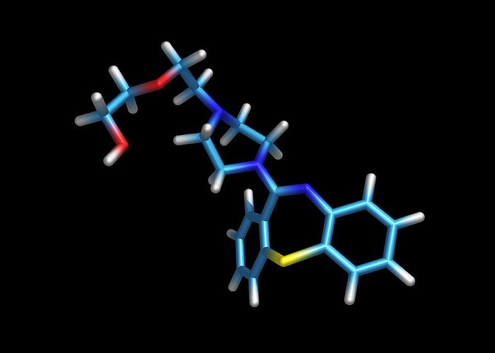 Quetiapine Greeting Card featuring the photograph Schizophrenia Drug Molecule by Dr Tim Evans