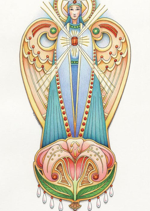 Colored Pencils Greeting Card featuring the drawing Scroll Angels - Lillium by Amy S Turner