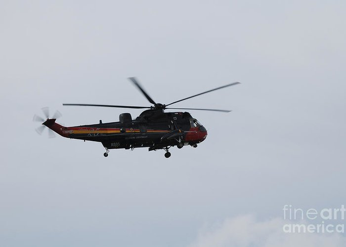 Aerial Greeting Card featuring the photograph Sea King Helicopter Of The Belgian Army by Luc De Jaeger