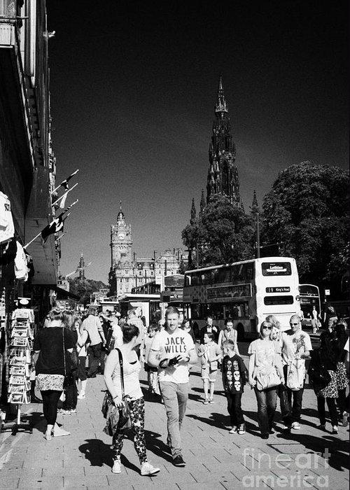 Princes Greeting Card featuring the photograph Shoppers And Tourists On Princes Street Edinburgh Scotland Uk United Kingdom by Joe Fox