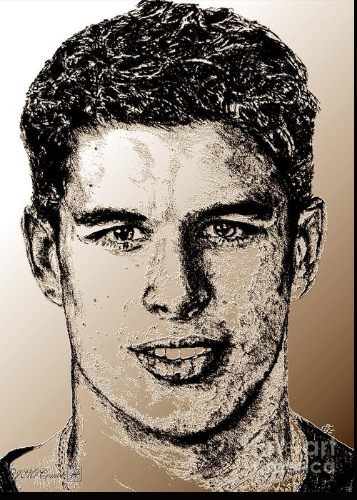 Sidney Crosby Greeting Card featuring the digital art Sidney Crosby In 2007 by J McCombie
