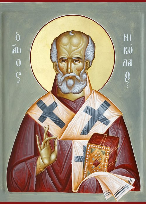 St Nicholas Of Myra Greeting Card featuring the painting St Nicholas Of Myra by Julia Bridget Hayes