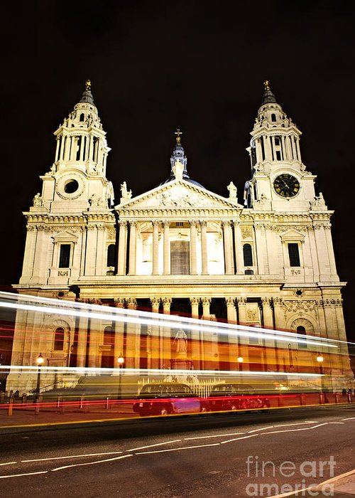 Saint Greeting Card featuring the photograph St. Paul's Cathedral In London At Night by Elena Elisseeva