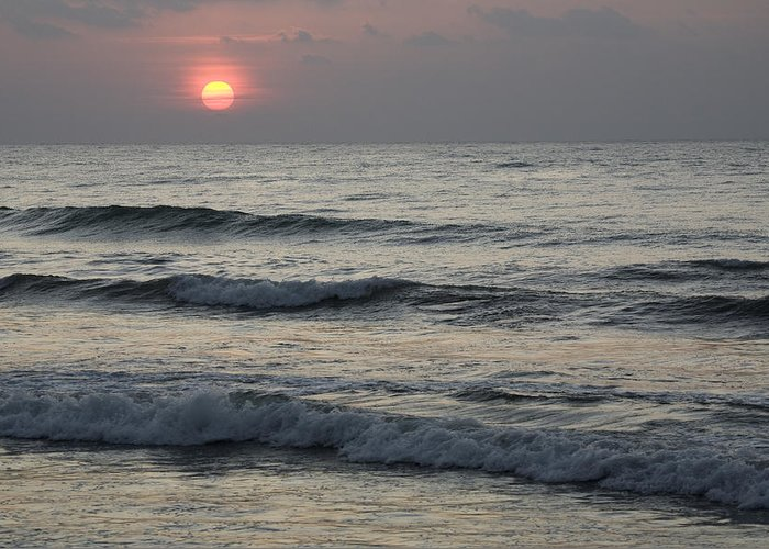 00481409 Greeting Card featuring the photograph Sunrise Over Arabian Sea Hawf Protected by Sebastian Kennerknecht