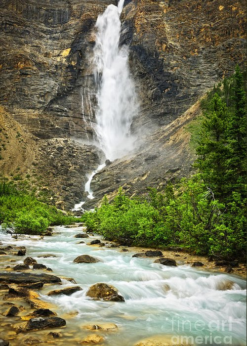 Takakkaw Falls Greeting Card featuring the photograph Takakkaw Falls Waterfall In Yoho National Park Canada by Elena Elisseeva