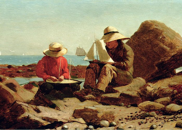 Builder Greeting Card featuring the painting The Boat Builders by Winslow Homer