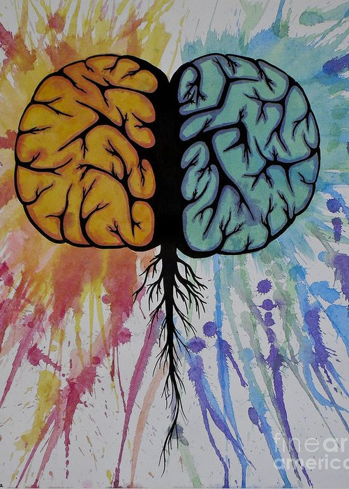Colorful Greeting Card featuring the painting The Brain by Holly Hunt