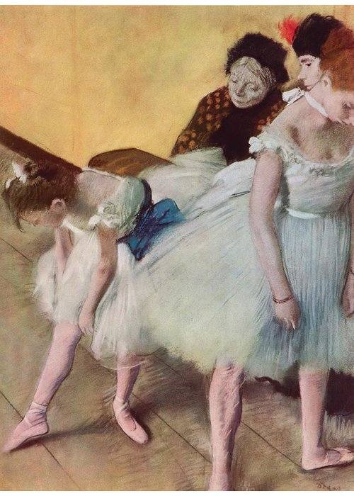 The Dancing Class Greeting Card featuring the painting The Dancing Class by Edgar Degas