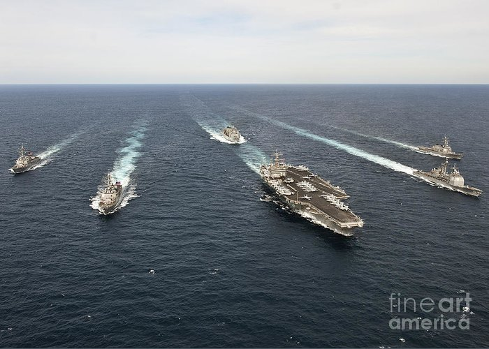 Atlantic Ocean Greeting Card featuring the photograph The Enterprise Carrier Strike Group by Stocktrek Images