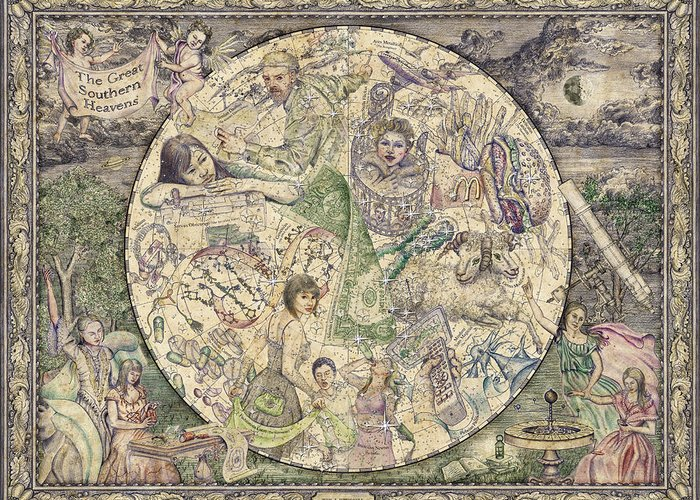 Astronomy Greeting Card featuring the tapestry - textile The Great Southern Heavens by Tim Wetherell