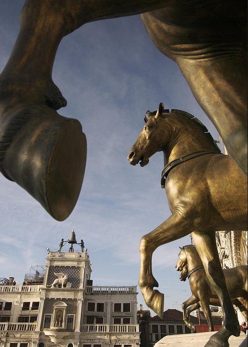 Color Image Greeting Card featuring the photograph The Horses On The Basilica San Marcos by Jim Richardson