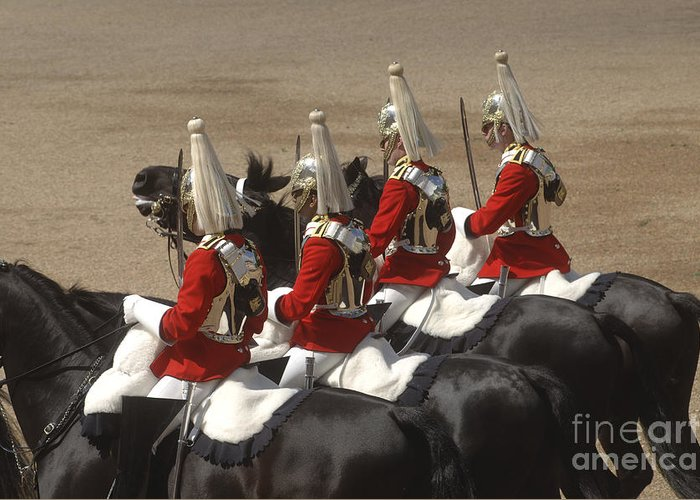 Horse Guards Parade Greeting Card featuring the photograph The Household Cavalry Performs by Andrew Chittock
