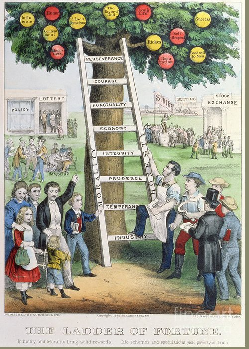 The Ladder Of Fortune Greeting Card featuring the painting The Ladder Of Fortune by Currier and Ives
