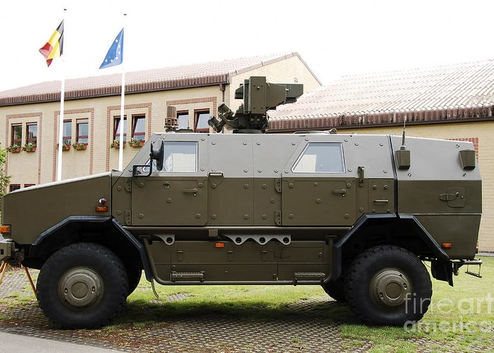 Armament Greeting Card featuring the photograph The Multi-purpose Protected Vehicle by Luc De Jaeger