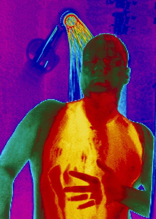 Thermogram Greeting Card featuring the photograph Thermogram Of A Man Taking A Shower by Dr. Arthur Tucker