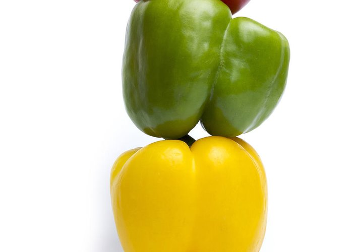 Peppers Greeting Card featuring the photograph Three Peppers by Bernard Jaubert