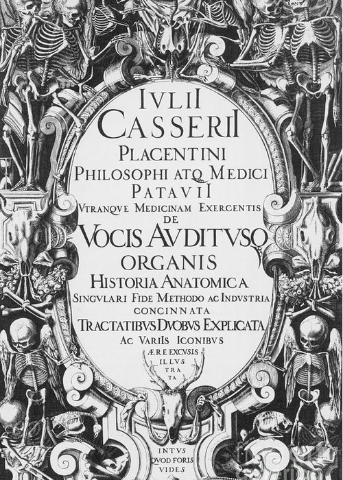 History Greeting Card featuring the photograph Title Page, Giulio Casserios Anatomy by Science Source