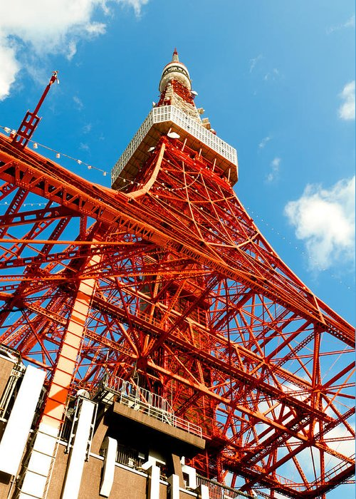 Architecture Greeting Card featuring the photograph Tokyo Tower Face Cloudy Sky by Ulrich Schade