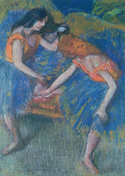 Ballet; Ballerinas; Ballerina Greeting Card featuring the pastel Two Dancers by Edgar Degas