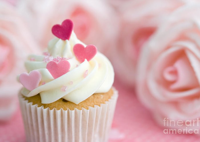 Cupcake Greeting Card featuring the photograph Valentine Cupcake by Ruth Black