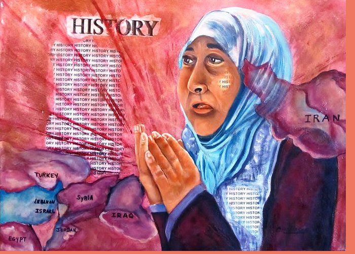 Middle East Greeting Card featuring the painting Victims Of War by Carol Allen Anfinsen