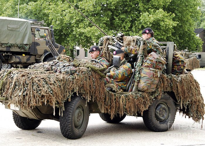 Action Greeting Card featuring the photograph Vw Iltis Jeeps Used By Scout Or Recce by Luc De Jaeger