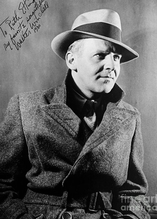 1940 Greeting Card featuring the photograph Walter Winchell (1897-1972) by Granger