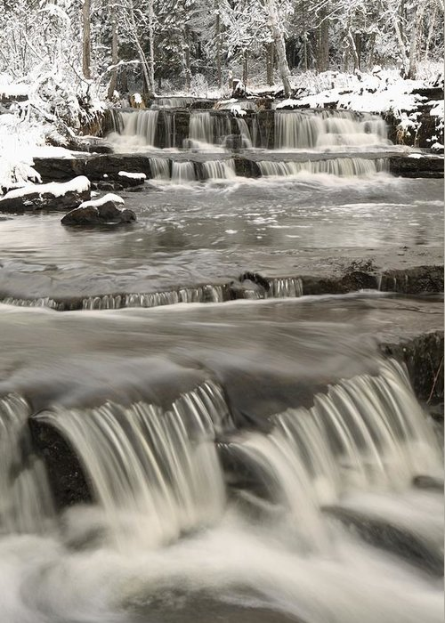 Cascade Greeting Card featuring the photograph Waterfalls With Fresh Snow Thunder Bay by Susan Dykstra