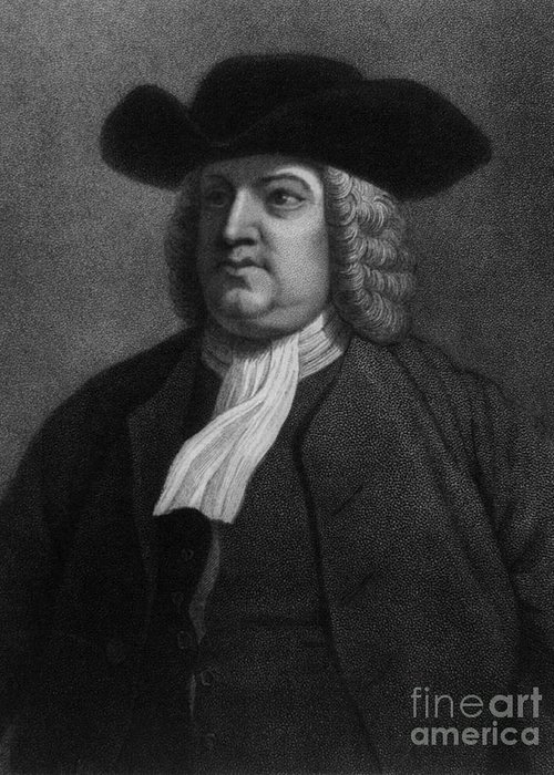 History Greeting Card featuring the photograph William Penn, Founder Of Pennsylvania by Photo Researchers