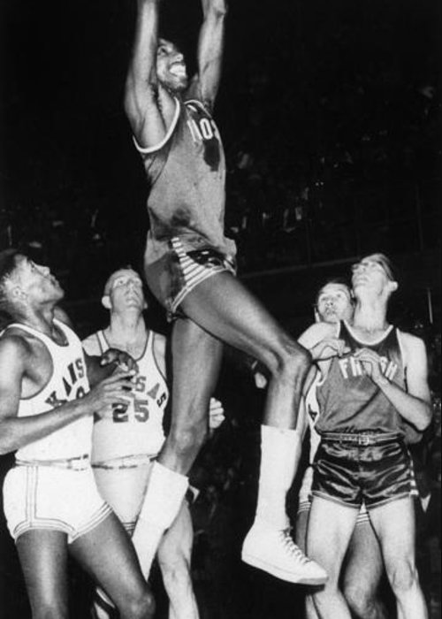 1956 Greeting Card featuring the photograph Wilt Chamberlain (1936-1999) by Granger