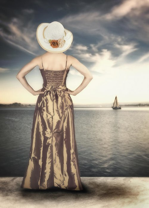 Female Greeting Card featuring the photograph Woman At The Lake by Joana Kruse