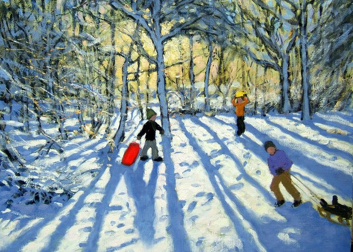 Woods Greeting Card featuring the painting Woodland In Winter by Andrew Macara