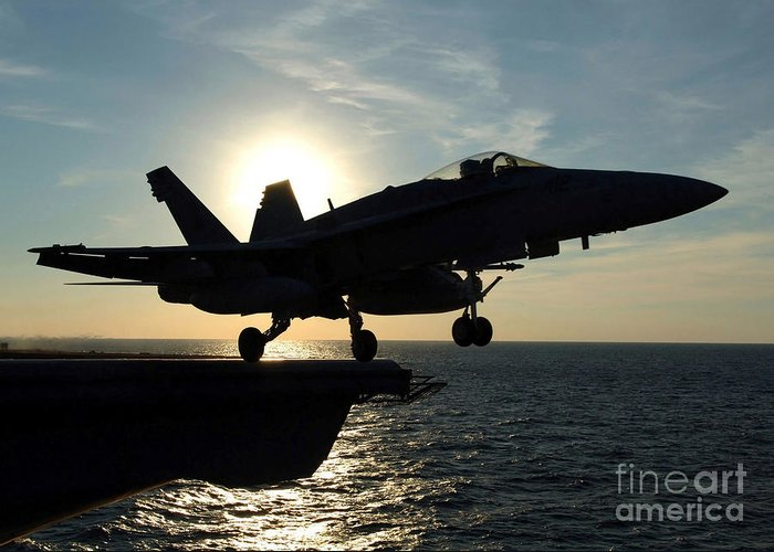 Horizontal Greeting Card featuring the photograph An Fa-18c Hornet Launches by Stocktrek Images