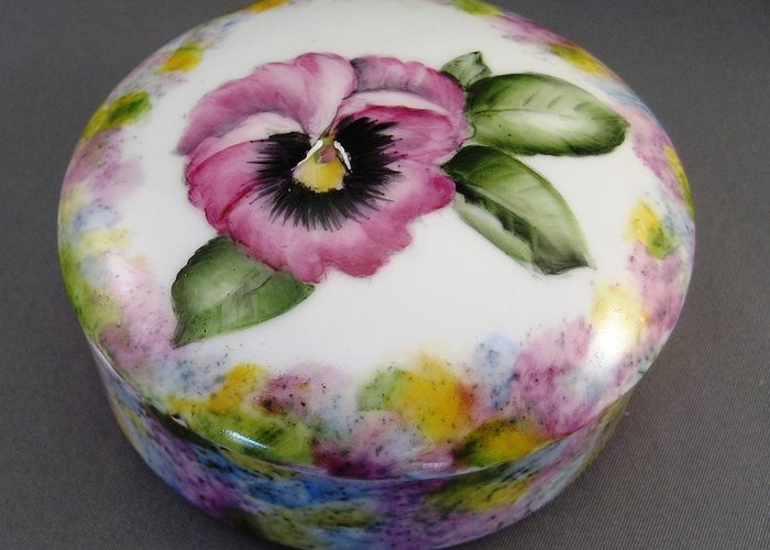 Porcelain Greeting Card featuring the ceramic art 173 Pansy Box by Wilma Manhardt