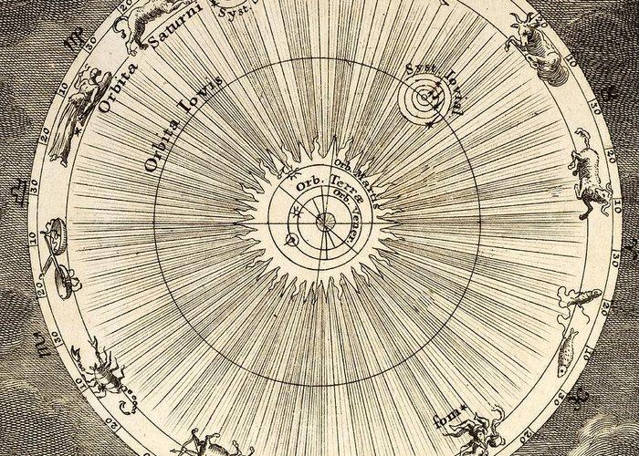 18th Century Greeting Card featuring the photograph 1731 Johann Scheuchzer Planet Orbit by Paul D Stewart