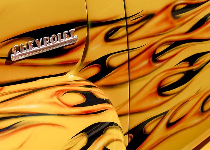 1952 Chevrolet Pickup Truck Greeting Card featuring the photograph 1952 Chevrolet Pickup Truck Emblem by Jill Reger