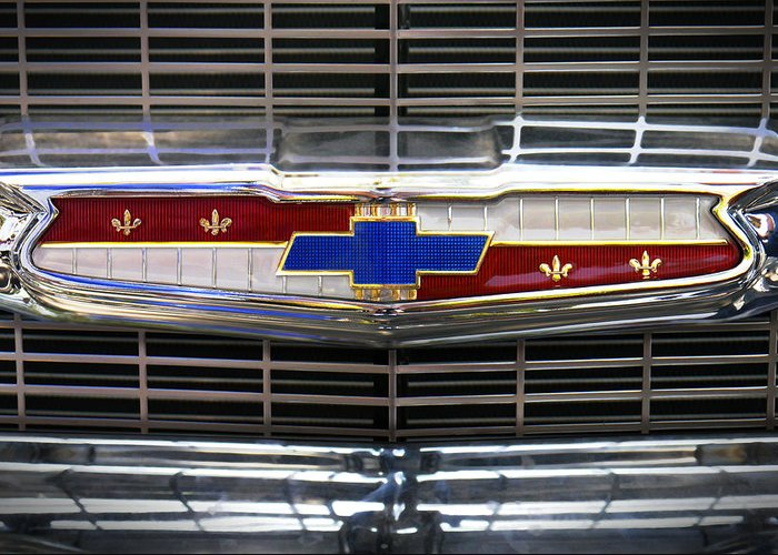 Transportation Greeting Card featuring the photograph 1956 Chevrolet Grill Emblem by Mike McGlothlen