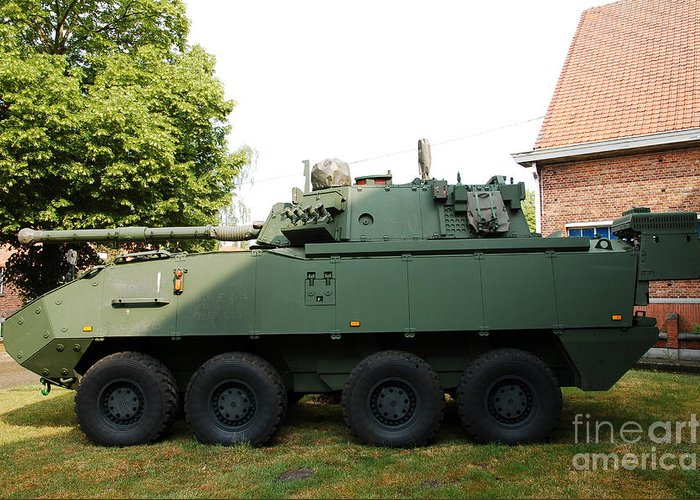 Armored Fighting Vehicles Greeting Card featuring the photograph A Belgian Army Piranha IIic by Luc De Jaeger