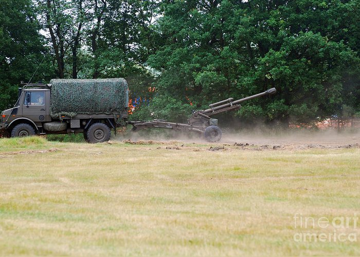 Lg1 Greeting Card featuring the photograph A Belgian Artillery Unit Setting by Luc De Jaeger