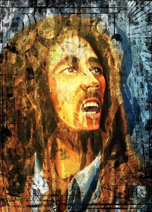 Bob Marley Greeting Card featuring the painting Bob Marley by Biren Biren