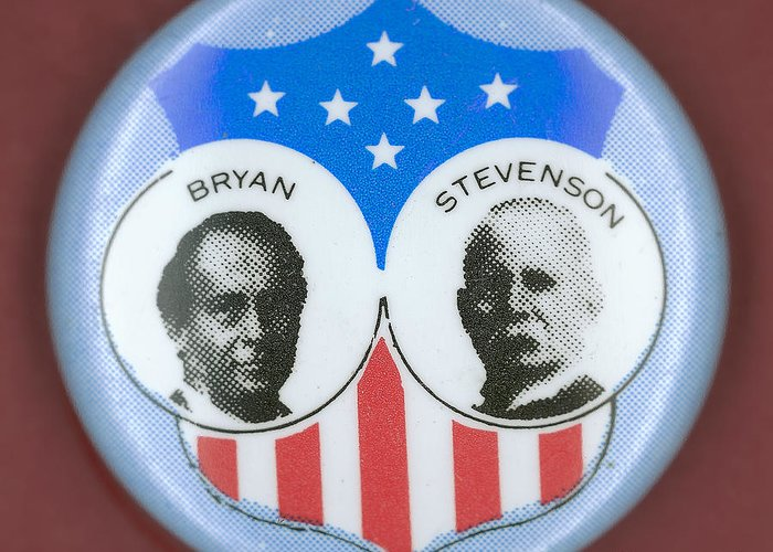 1900 Greeting Card featuring the photograph Bryan Campaign Button by Granger