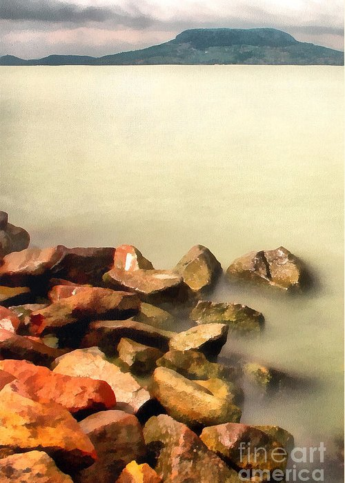 Odon Greeting Card featuring the painting Calm by Odon Czintos